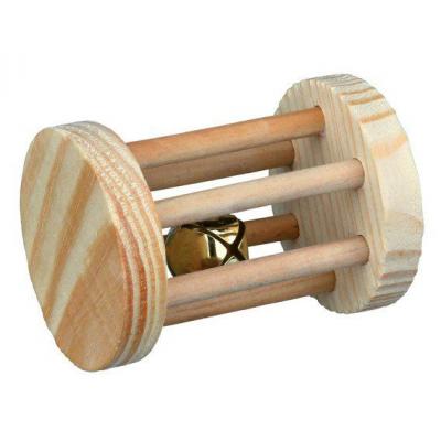 Dřevěný váleček s rolničkou hračka pro hlodavce 5x7cm