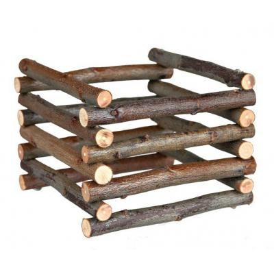 Dřevěný přírodní stojan na seno 15x11x15cm